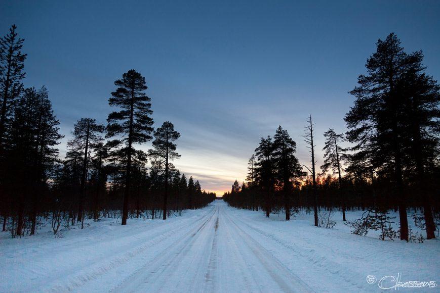 Snowy road Lapland