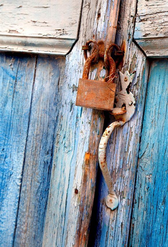 Old blue door with lock