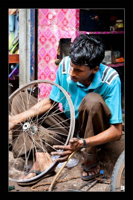 Indian bicycle repairman