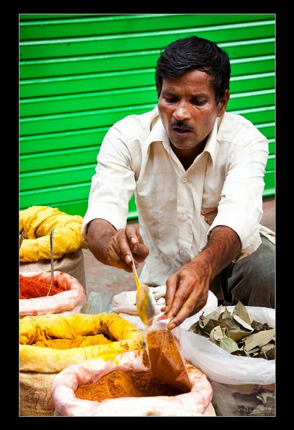 Indian market man with spices