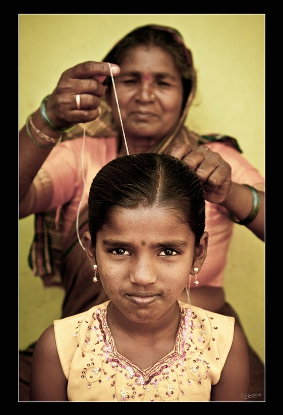 Indian girl and mother