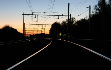 treinspoor railway sunset