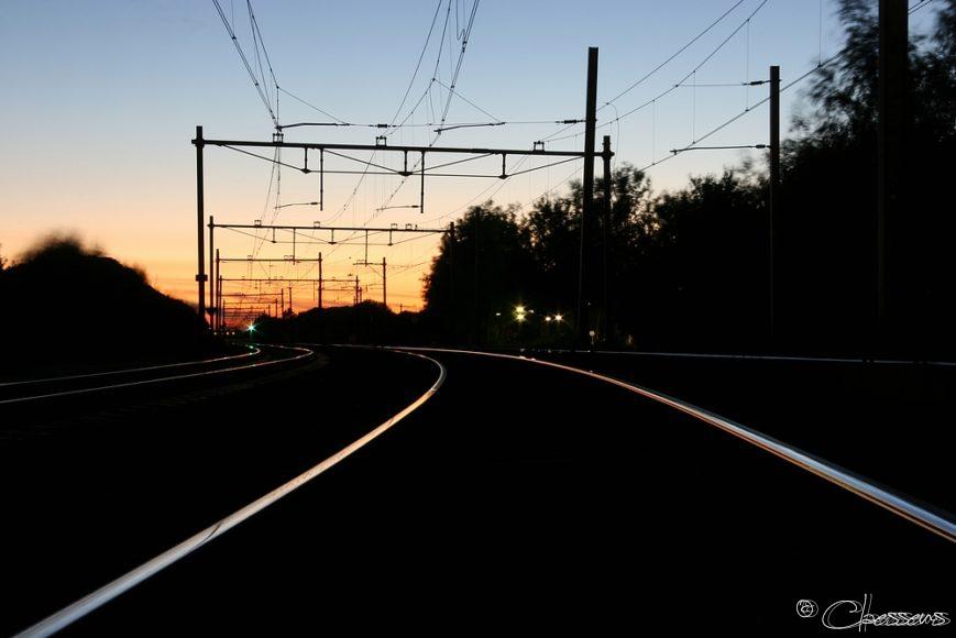 treinspoor railway sunset