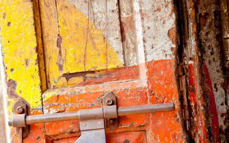Old orange door