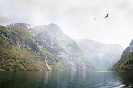 Mountains in Nærøyfjord, Norway